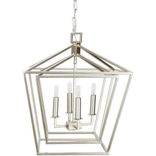 "Bellair 20.7"" x 17.7"" 4-Light Lantern Chandelier (Silver)"