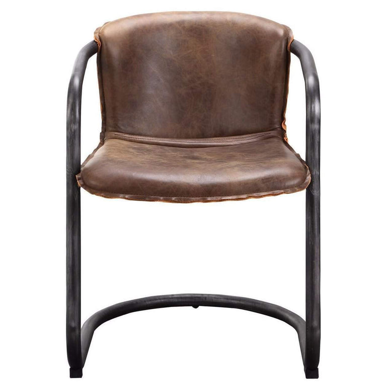 Benedict Leather Dining Chair (Whiskey Brown) - Set of 2 - Parker Gwen