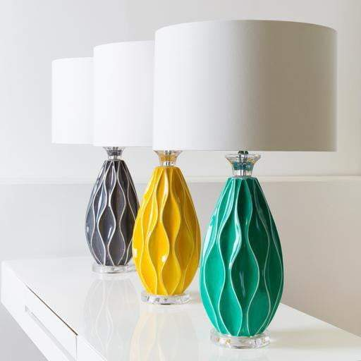 Bethany Ceramic Table Lamp: Green, Yellow or Grey - Parker Gwen