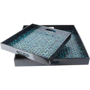 Beverly Teal Tray Set-Tabletop-Parker Gwen