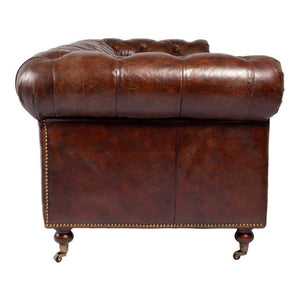 "BIRMINGHAM 89"" Chesterfield Leather SOFA (BROWN)-Sofa-Parker Gwen"