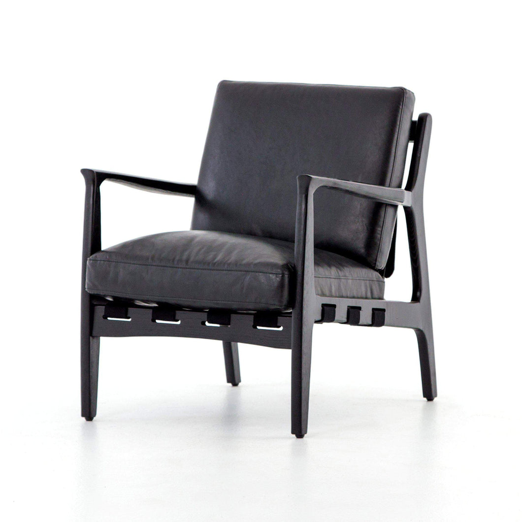 Silas Leather Chair: (Aged Black) - Bishop Collection-Accent Chair-Parker Gwen
