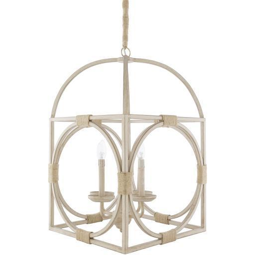 Mabel Off-White Antiqued Natural Finish Jute Chandelier | Chandelier | parker-gwen