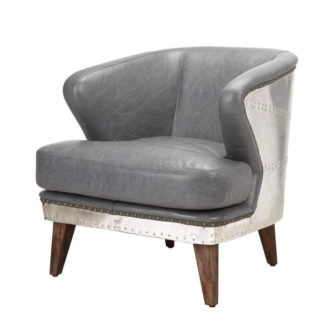 Cambridge Leather Club Chair (Antique Grey) - Parker Gwen