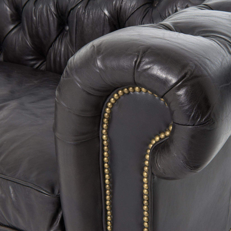 "Carnegie Collection Conrad 96"" Top Grain Leather Chesterfield Sofa (Rider Black) - Parker Gwen"