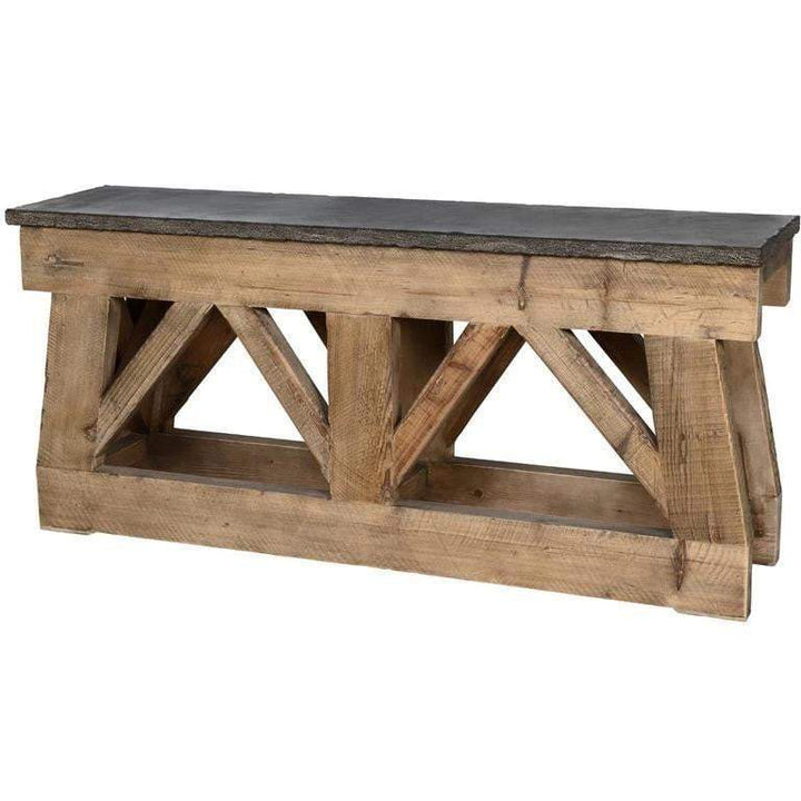 "Marbella 72"" Reclaimed Wood, Bluestone Top Console Table - Parker Gwen"