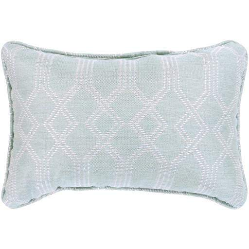 "CRISSY OUTDOOR 13"" X 19"" THROW PILLOW: Sea Foam/White - Parker Gwen"