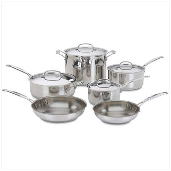 Cuisinart 10-Pc Chef's Classic Cookware: Available in Stainless, Black or Red-Pan-Parker Gwen