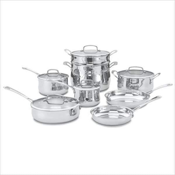 Cuisinart 13-Pc Stainless Steel Contour Cookware Set-Pan-Parker Gwen