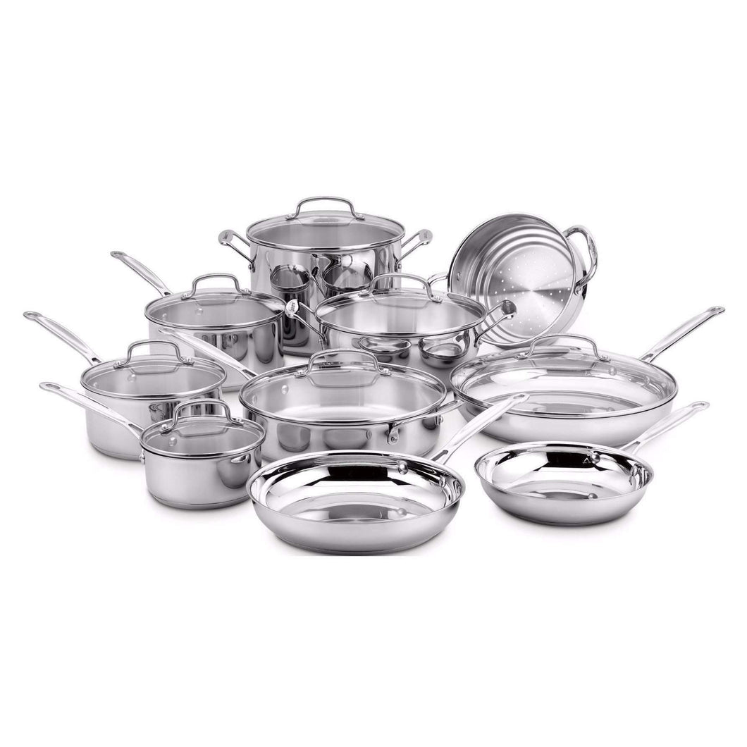 Cuisinart 17-Pc Chef's Classic Stainless Cookware Set-Pan-Parker Gwen