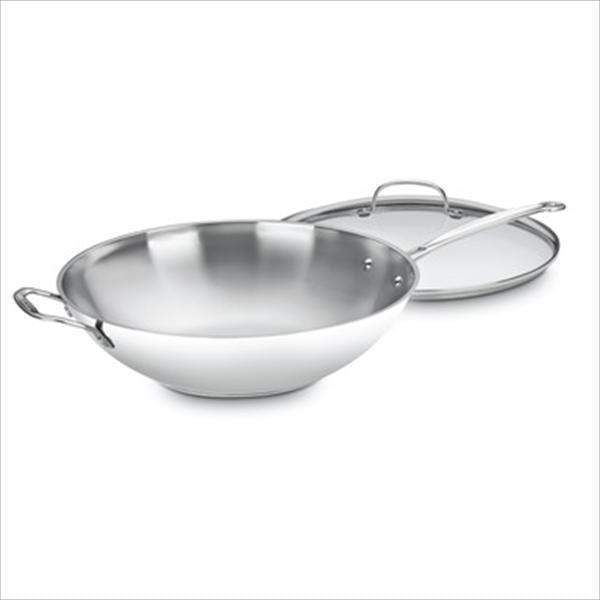 "Cuisinart Chef's Classic Stainless 14"" Stir-Fry Pan with Cover-Pan-Parker Gwen"