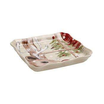 Deer Friends Square Serving Tray: Holiday Decor Collection-Tray-Parker Gwen