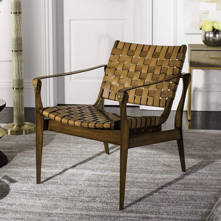 Dilan Leather Safari Accent Chair (Brown / Light Brown) - Parker Gwen