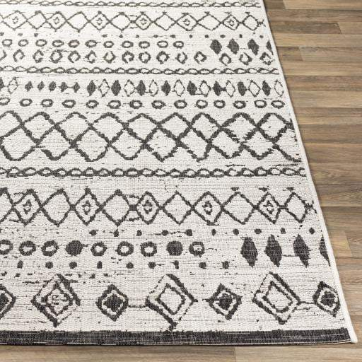 Eagean Indoor/Outdoor Boho Rug Collection - 4 Sizes (Black) - Parker Gwen
