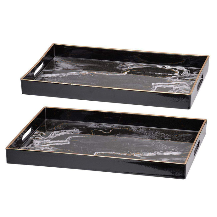 EFFRA SQUARE DECORATIVE TRAY (SET OF 2): Black-Tabletop-Parker Gwen