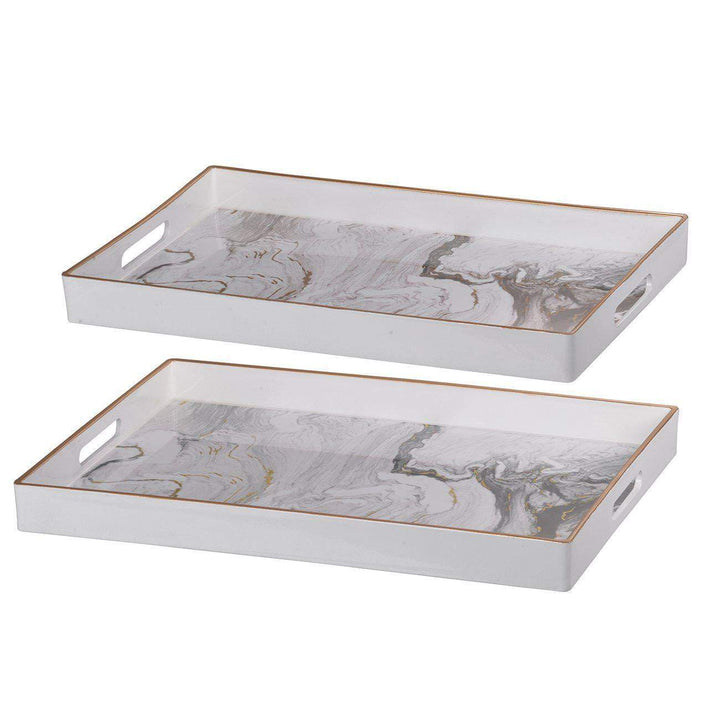 Effra Square Decorative Tray (Set of 2): White-Tabletop-Parker Gwen