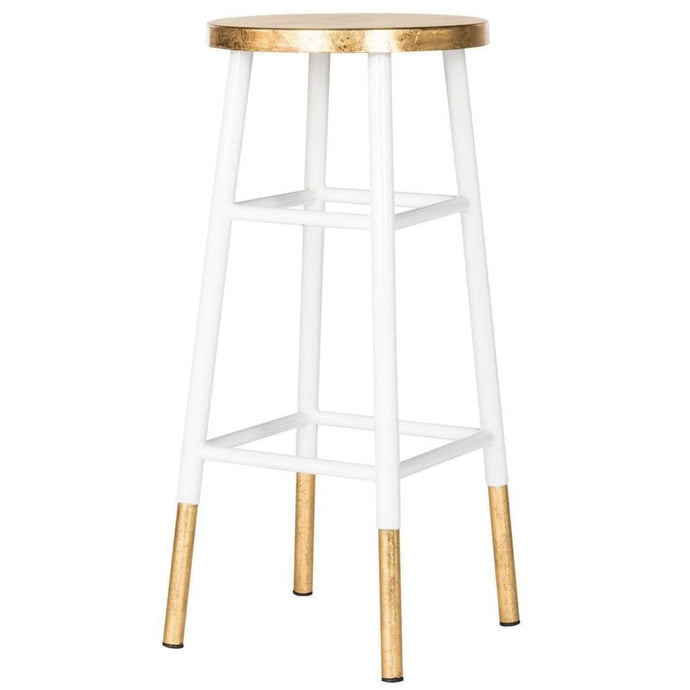 Emery Gold Leaf Dipped Bar Stool (White) - Parker Gwen