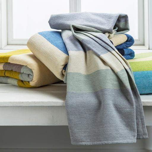 "Emma Gardner Meadowlark Woven Chenille Cotton Throw Blanket 50"" x 70"" (Blue, Navy, Beige) - Parker Gwen"