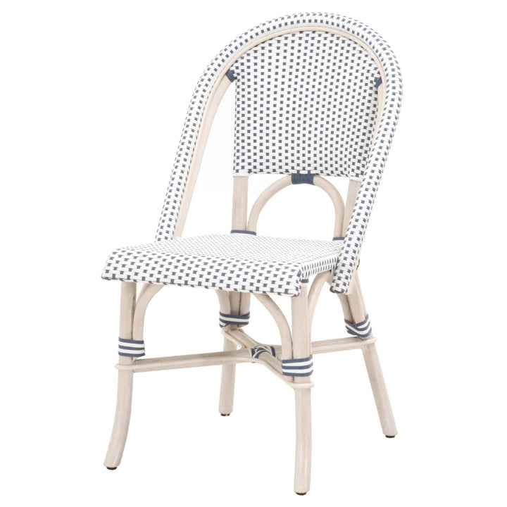 The Faye Parisian Indoor/Outdoor Rattan Chair (Blue/White) - Set of 2 | Dining Chair | parker-gwen
