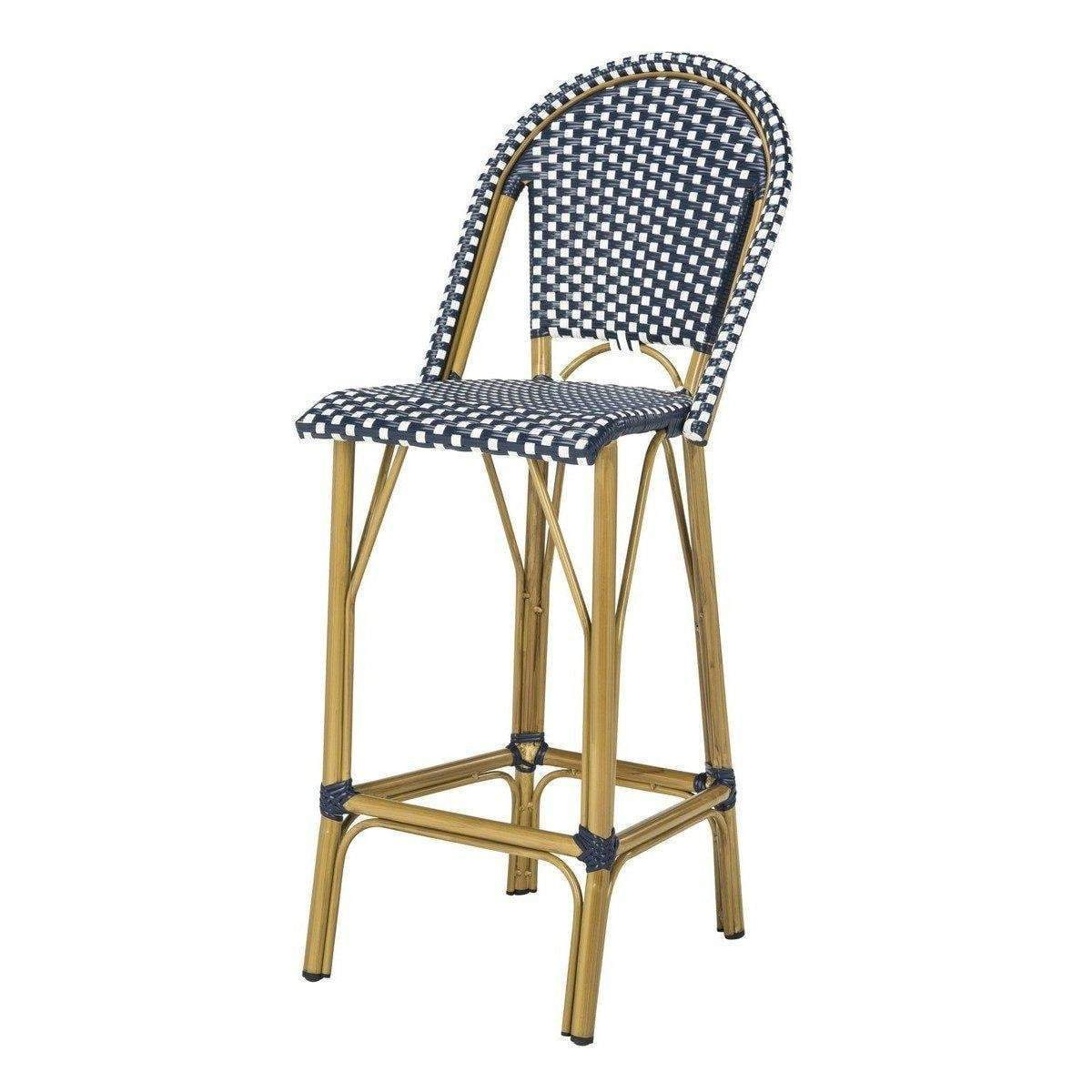 Wondrous Ford Indoor Outdoor Stacking French Bistro Bar Or Counter Stool Navy White Theyellowbook Wood Chair Design Ideas Theyellowbookinfo