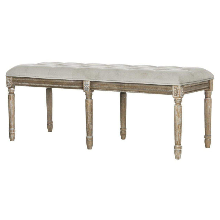"Rocha 19"" H French Brasserie Traditional Rustic Wood Bench (Grey)-Bench-Parker Gwen"