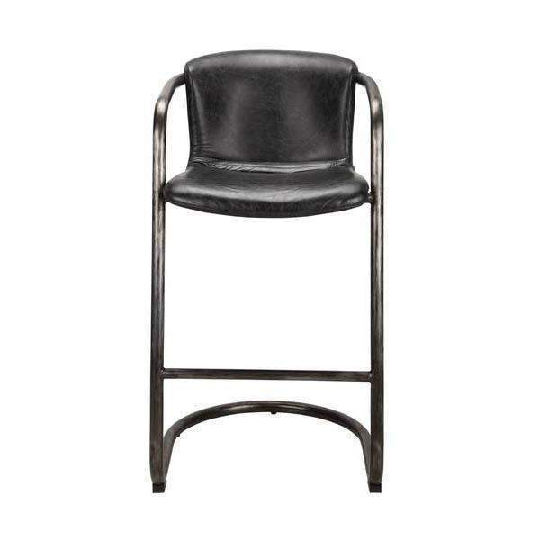 Freeman Top Grain Leather Bar or Counter Stool - Set of Two (Black) - Parker Gwen