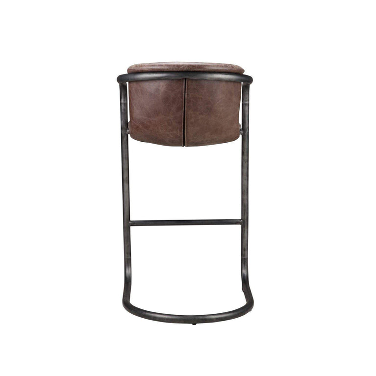 Freeman Top Grain Leather Bar or Counter Stool - Set of Two (Brown) - Parker Gwen
