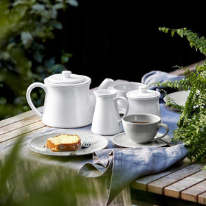Friso Dining Collection Tea Cup & Saucer (Set of 6): White - Parker Gwen