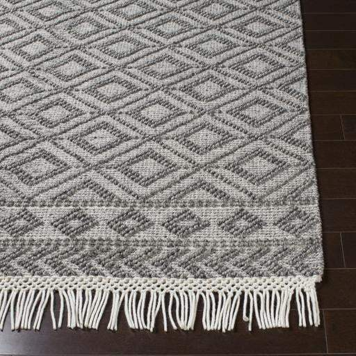 Farmhouse Tassels Diamond Woven Rug: Multiple Sizes & Runner (Charcoal) - Parker Gwen