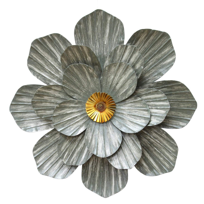 Galvanized Flower Wall Décor-Wall Accent-Parker Gwen