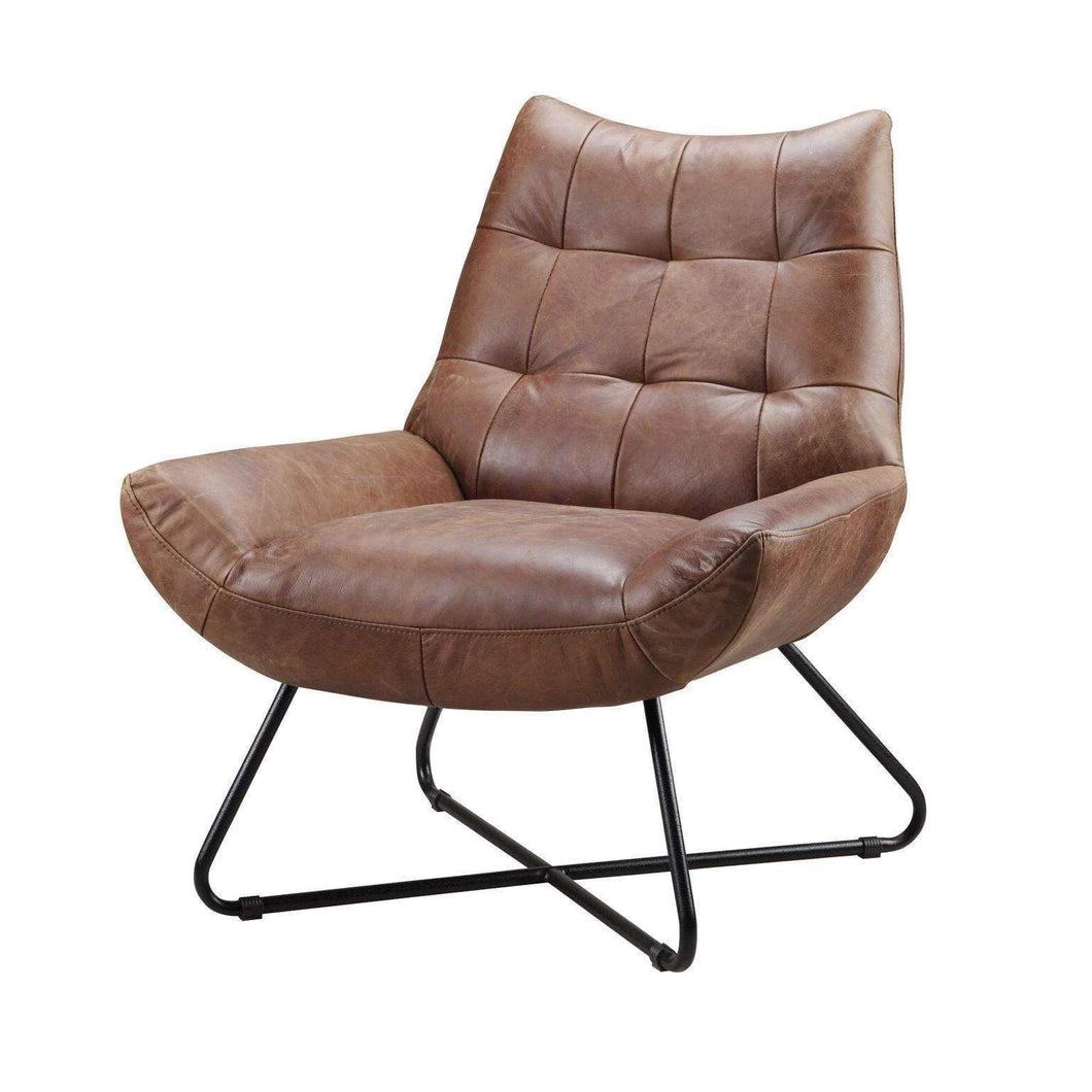 Graduate Leather Lounge Chair (Cappuccino) - Parker Gwen