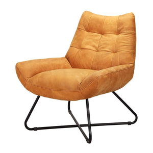 Graduate Top Grain Leather Lounge Chair (Tan) - Parker Gwen