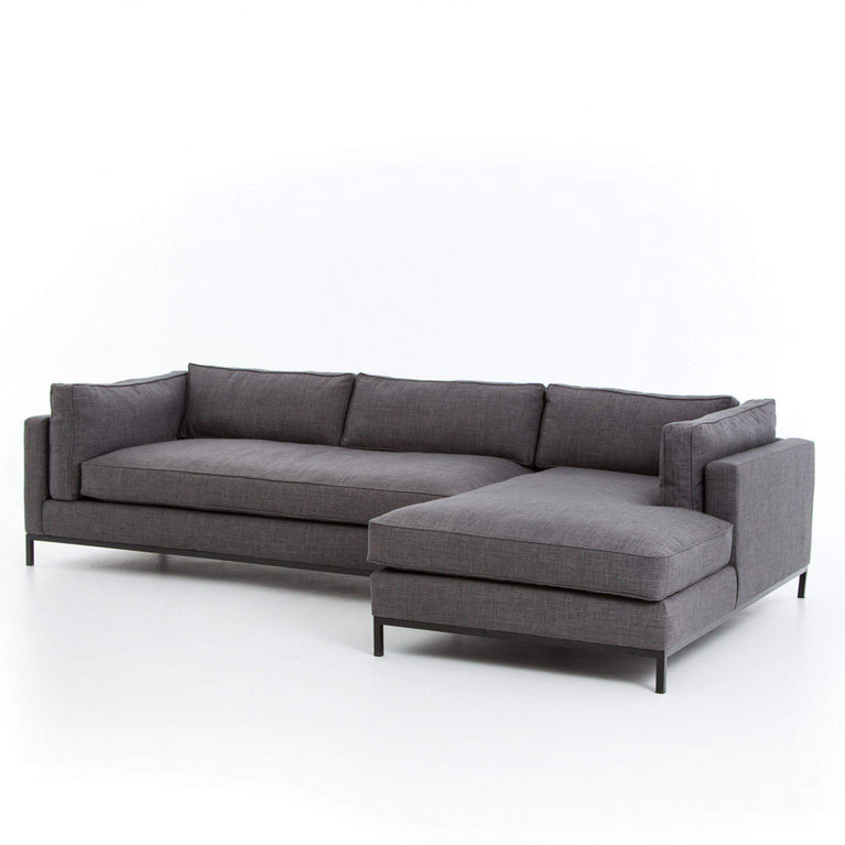 Grammercy 2-Piece Left or Right Arm Facing Chaise Sectional: Bennett Charcoal - Parker Gwen