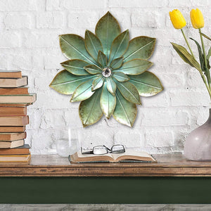 Green Embellished Flower Wall Décor-Wall Accent-Parker Gwen