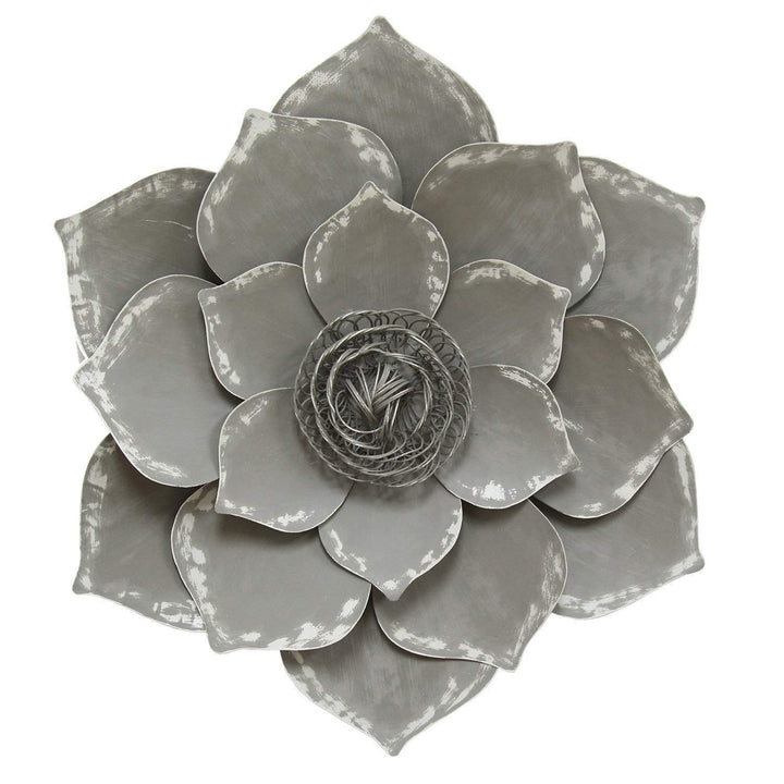 "Grey 20"" Metal Lotus Wall Décor - Parker Gwen"