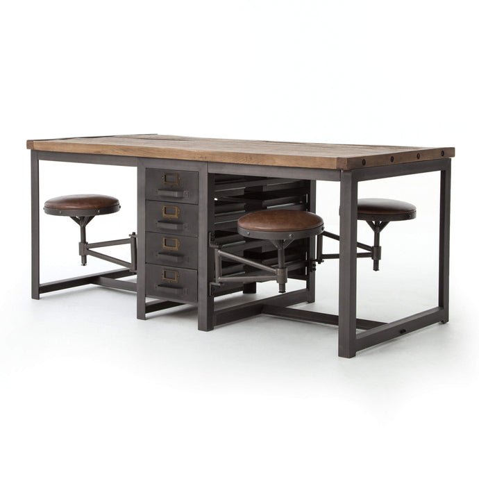 Hughes Collection Rupert Work Table: Rustic Black - Parker Gwen