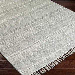 Idina Cotton Fringe Rug Collection: Multiple Sizes & Runner (Gray) - Parker Gwen