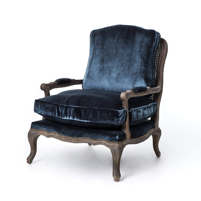 Boutique Velvet Accent Chair: Cut Blue Pile - Irondale Collection - Parker Gwen