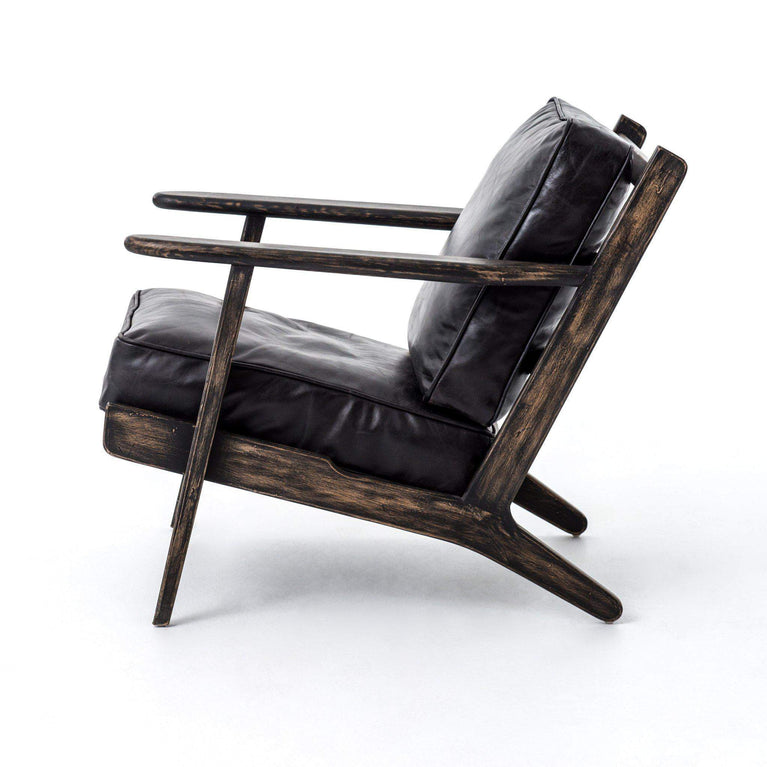Brooks Leather Lounge Chair (Rialto Ebony) - Parker Gwen