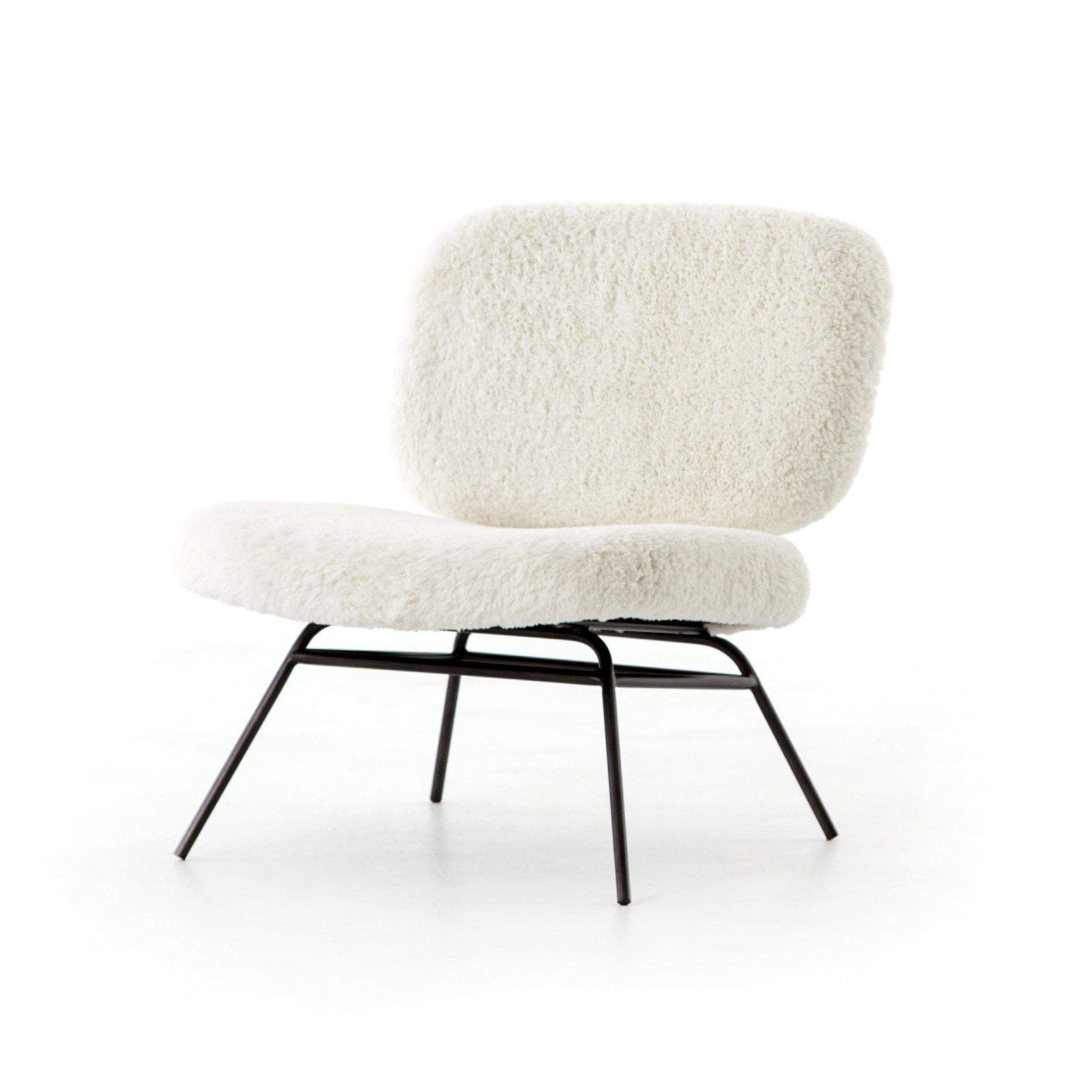 Irondale Collection Caleb Accent Chair: Ivory Angora - Parker Gwen