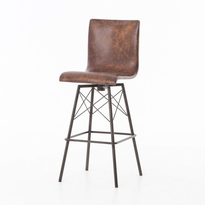 Diaw Leather Bar & Counter Stool (Brown) - Irondale - Parker Gwen
