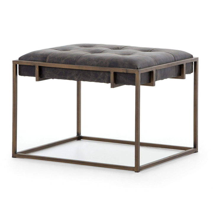 Oxford Leather End Table (Ebony) - Irondale Collection - Parker Gwen
