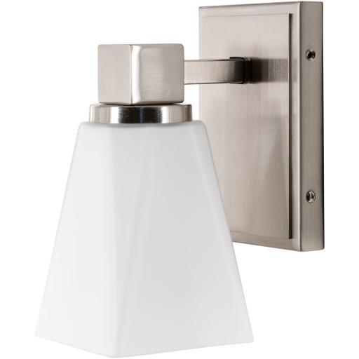 Leah White Nickel Brushed Frosted Glass Wall Sconce | Sconce | parker-gwen