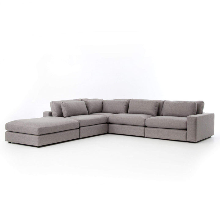 Bloor 4-Piece Sectional with Ottoman (Chess Pewter) - Parker Gwen
