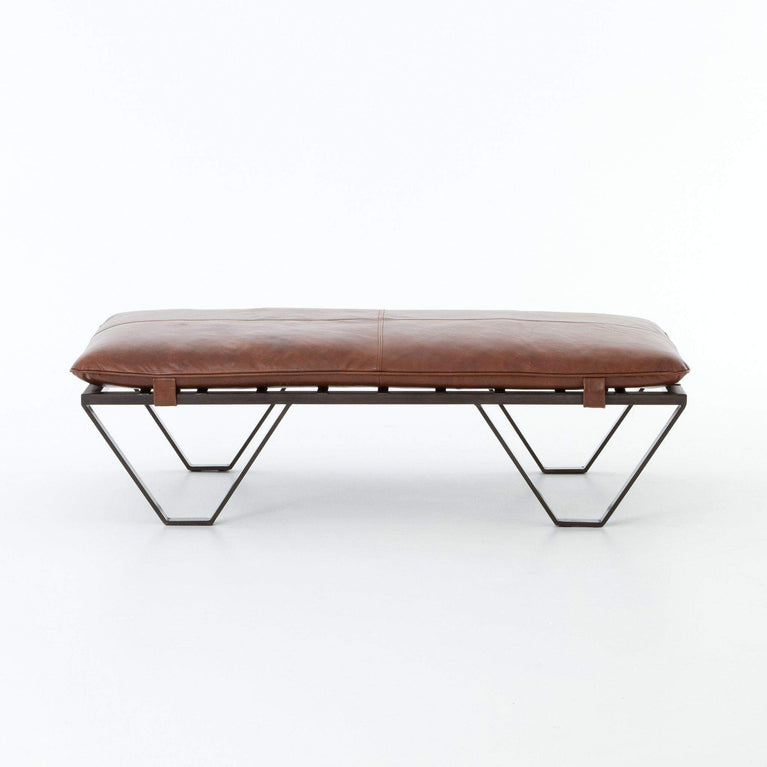 Darrow Leather Ottoman: (Wax Pullup Tan) - Kensington Collection - Parker Gwen