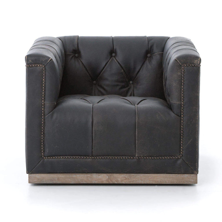 Maxx Swivel Leather Chair (Destroyed Black) - Parker Gwen