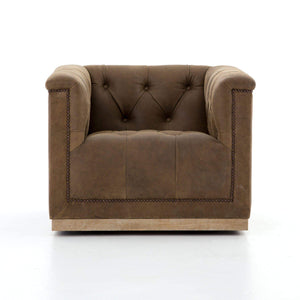Maxx Swivel Leather Chair (Umber Grey) - Parker Gwen