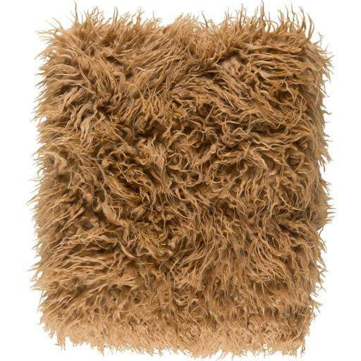 "Kharaa Faux Fur Throw Blanket 50"" x 60"" (Camel) - Parker Gwen"