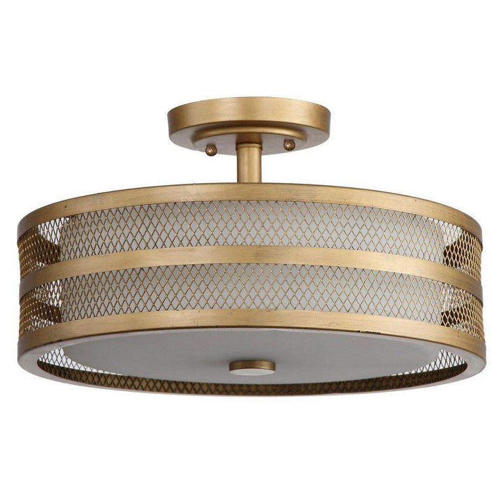 GRETA 3 LIGHT ANTIQUE GOLD 15.75-INCH DIA VEIL SEMI FLUSH Mount Ceiling Light - Parker Gwen