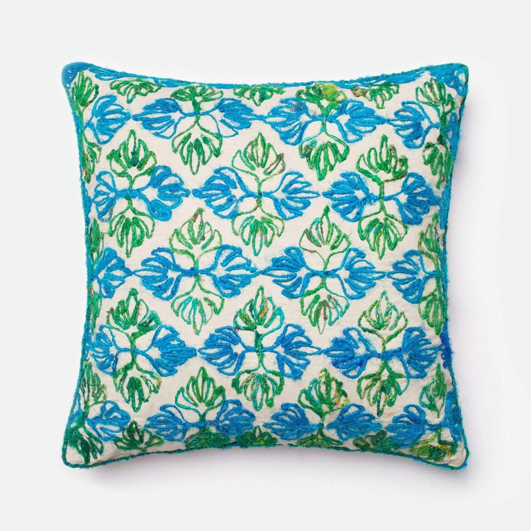 Loloi Dhurri Pillow Collection - Green/Blue - Parker Gwen